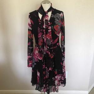 Kirna Zabete Floral Chiffon Long Sleeve Dress M